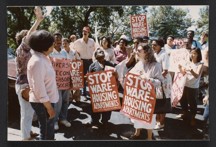 Demonstration in front of building with 60 vacant apartments (1989).