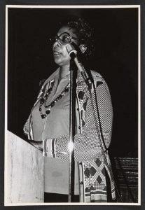 Bess Stevenson at a rent strike meeting