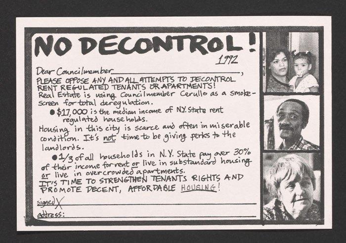 No Decontrol postcard to council members (1992).