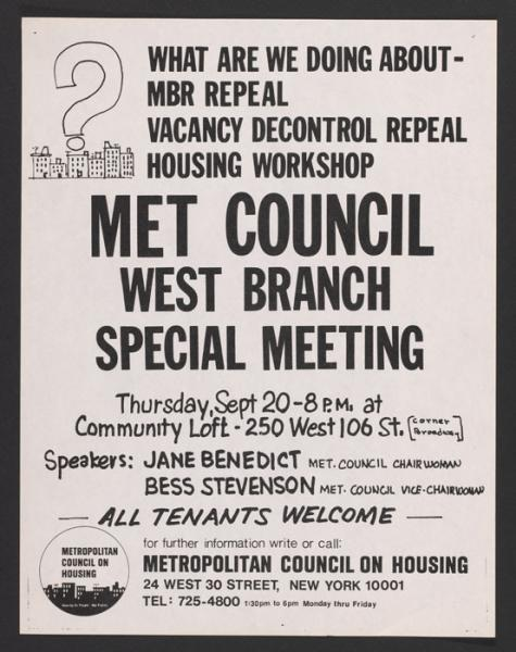 Poster for Met Council on Housing special meeting (1970s).
